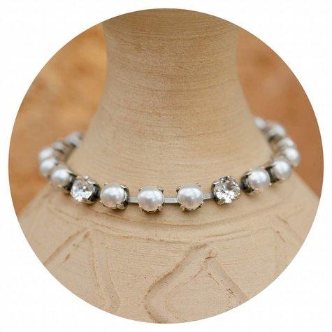 artjany Armband mit Kristallen & Perlen im white pearl mix