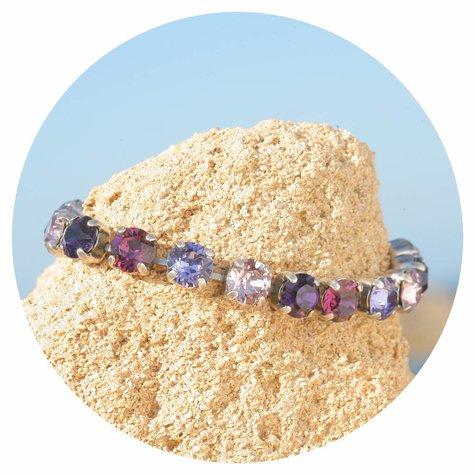 artjany Armband mit Kristallen im lila mix