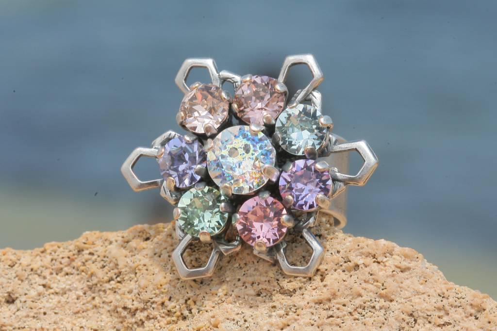 artjany Ring mit crystals im Patina mix