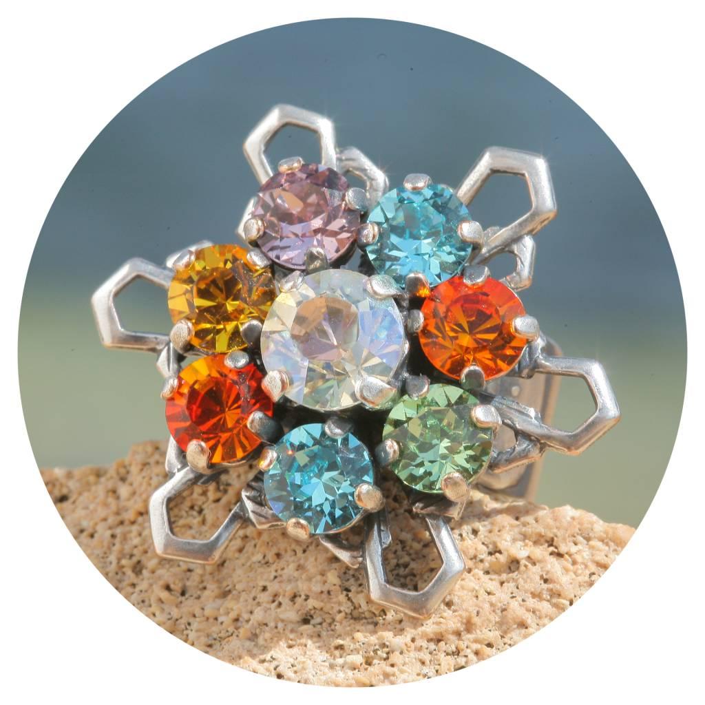 artjany Ring mit Kristallen im bunt mix