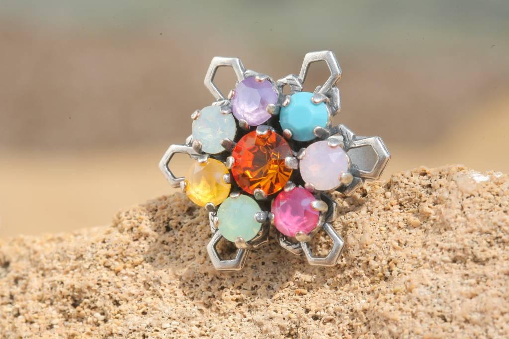 artjany Ring mit Kristallen im opal bunt mix