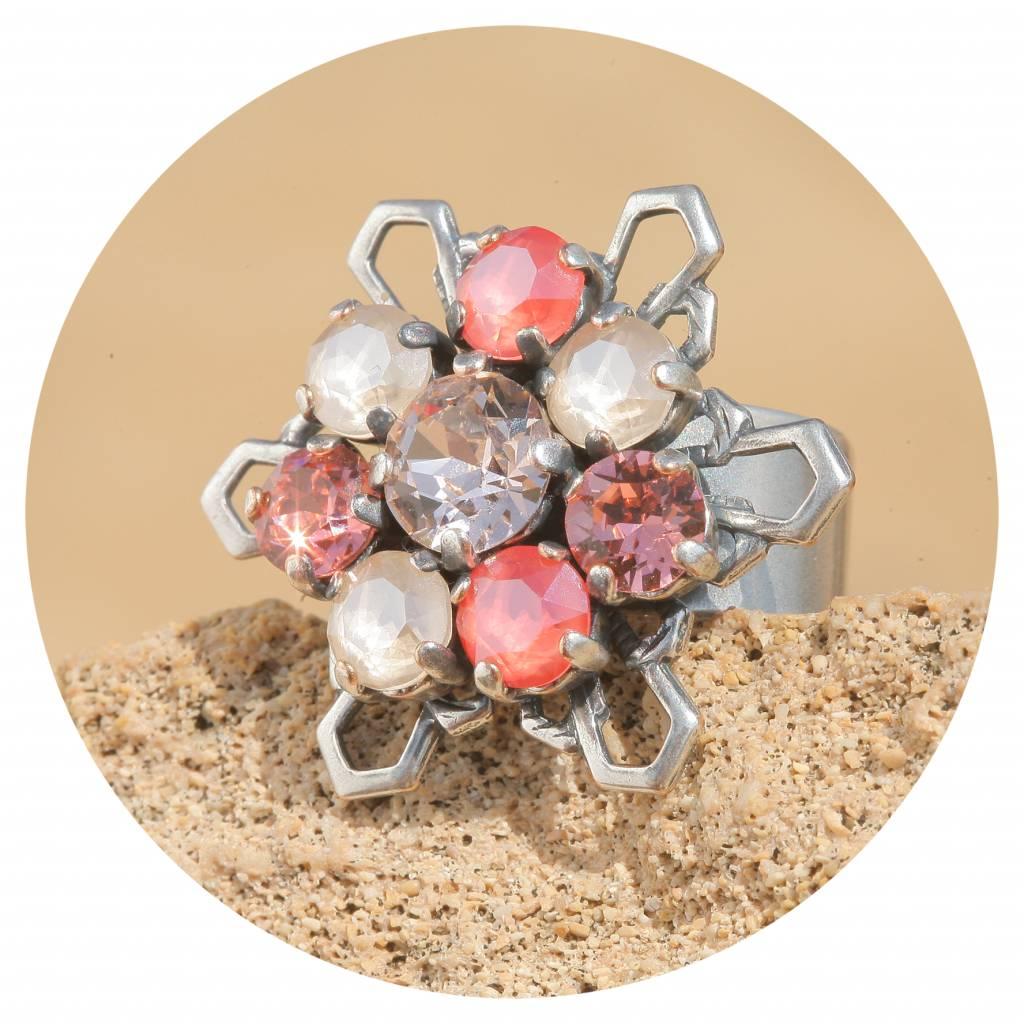 artjany Ring mit Kristallen im coral ivory mix