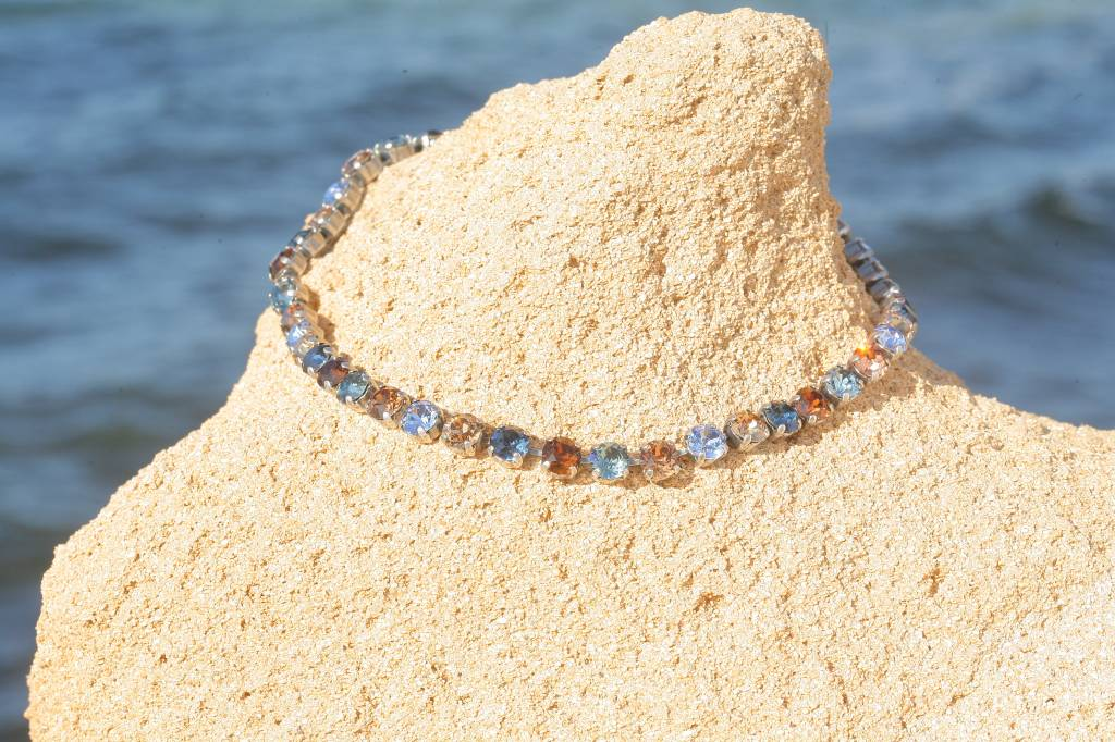 artjany Collier mit Kristallen in blau braun