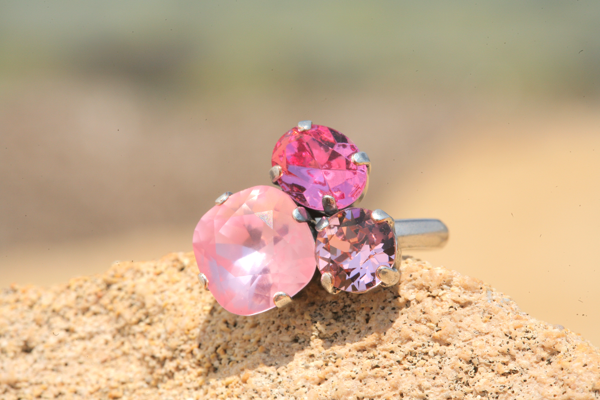 artjany Ring mit Kristallen im rose mix