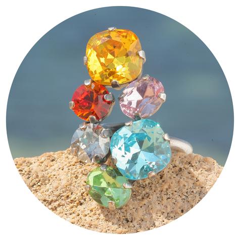 artjany Ring mit Kristallen in einem Bunt mix