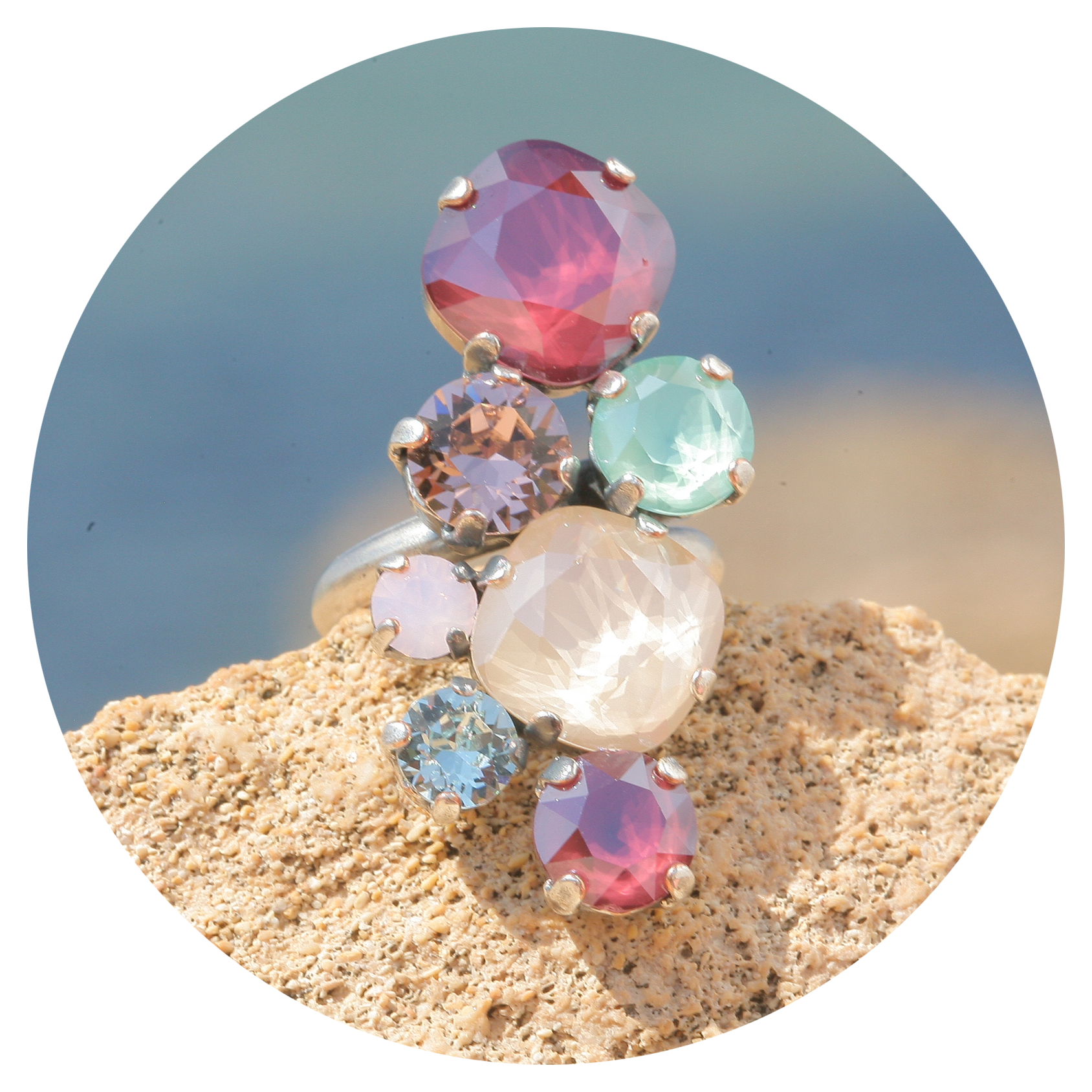 artjany Ring mit Kristallen in einem ivory red mix