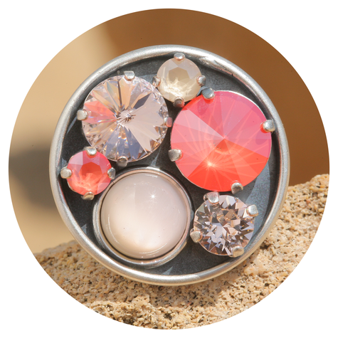 artjany Ring mit crystals im ivory coral mix