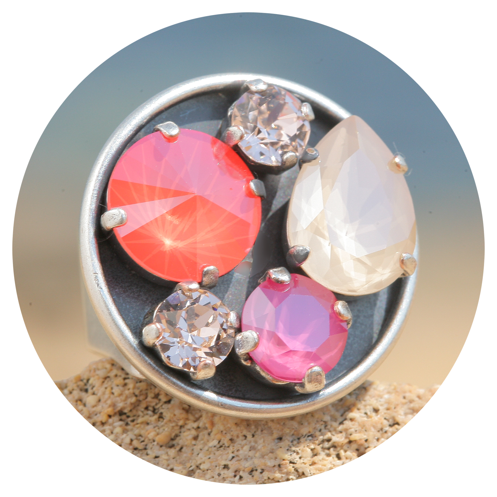 artjany Ring mit crystals im ivory coral pink mix