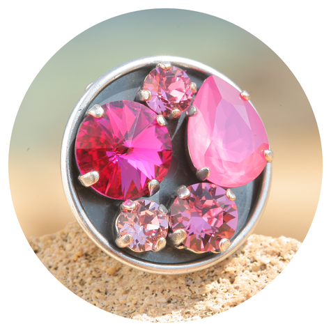 artjany Ring mit crystals im peony pink mix