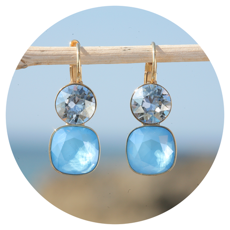 artjany Ohrhänger mit Kristallen im summer blue mix