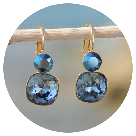 artjany Ohrhänger mit Kristallen im metallic blue mix