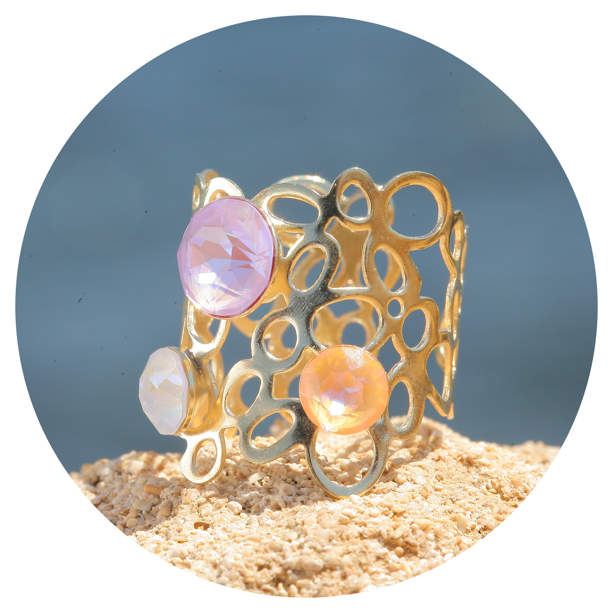 artjany goldener Ring in einem peach lavender deliTe mix