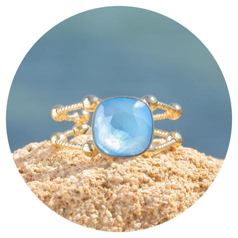 artjany goldener Ring in summer blue