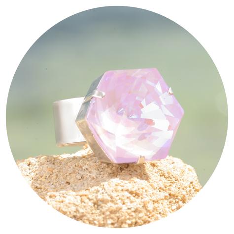 artjany Ring Kaleidoskop Hexagon lavender deLite