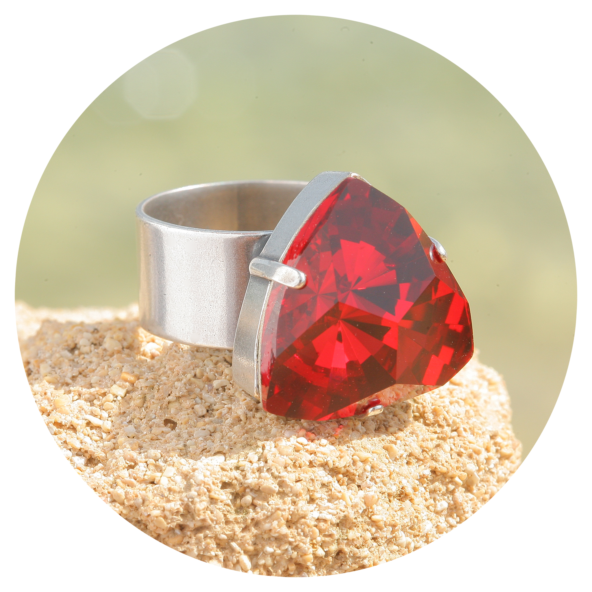 artjany Ring Kaleidoskop Triangle scarlet