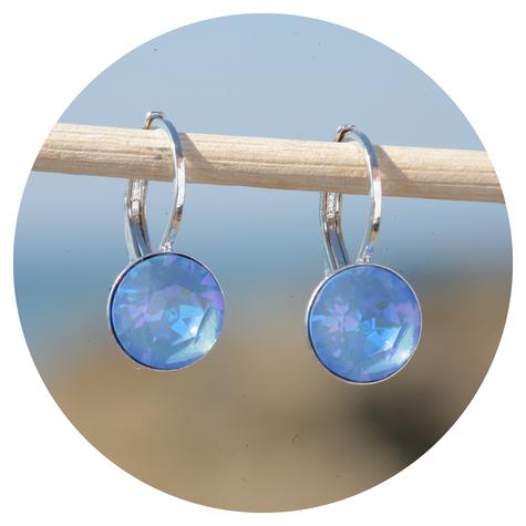 artjany Ohrhänger mit Kristallen in ocean deLite
