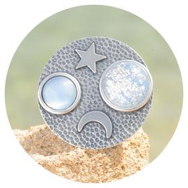 R-GAMOST Mond & Stern blau patina