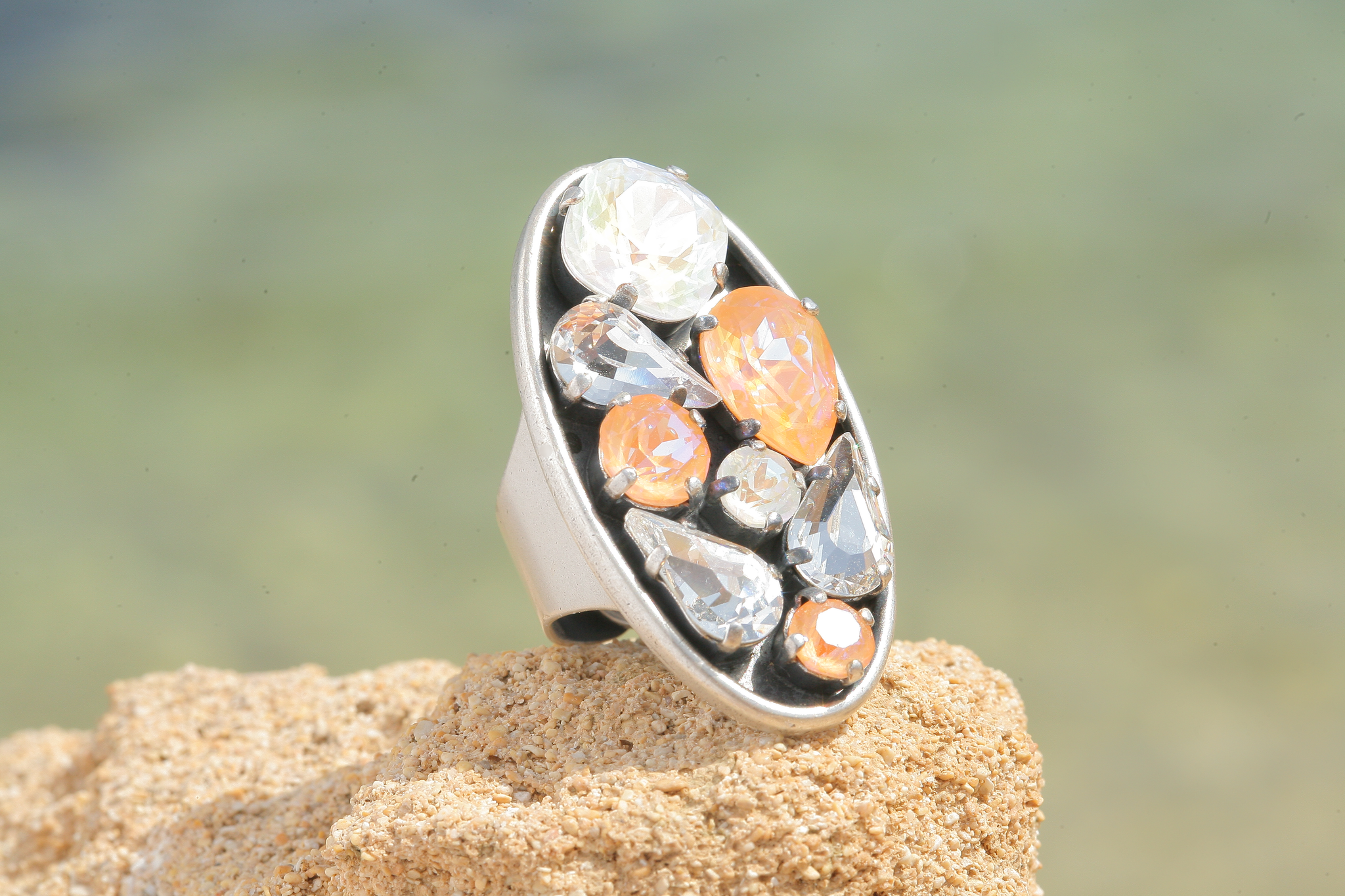 artjany Ring mit crystals in peach light grey deLite mix