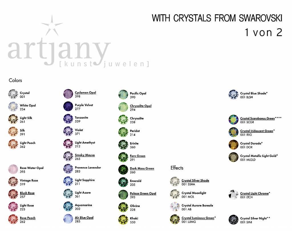 artjany Ohrhänger mit Kristallen im grau mix