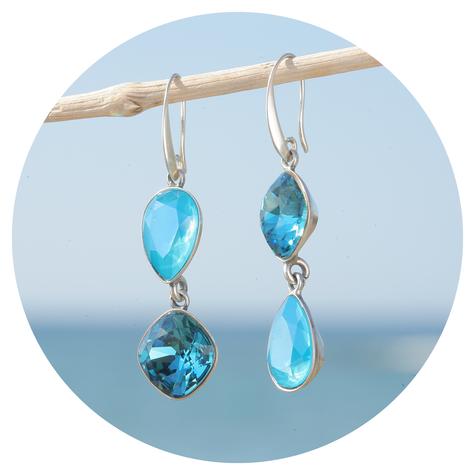 artjany Ohrhänger mit Kristallen in azure blue mix