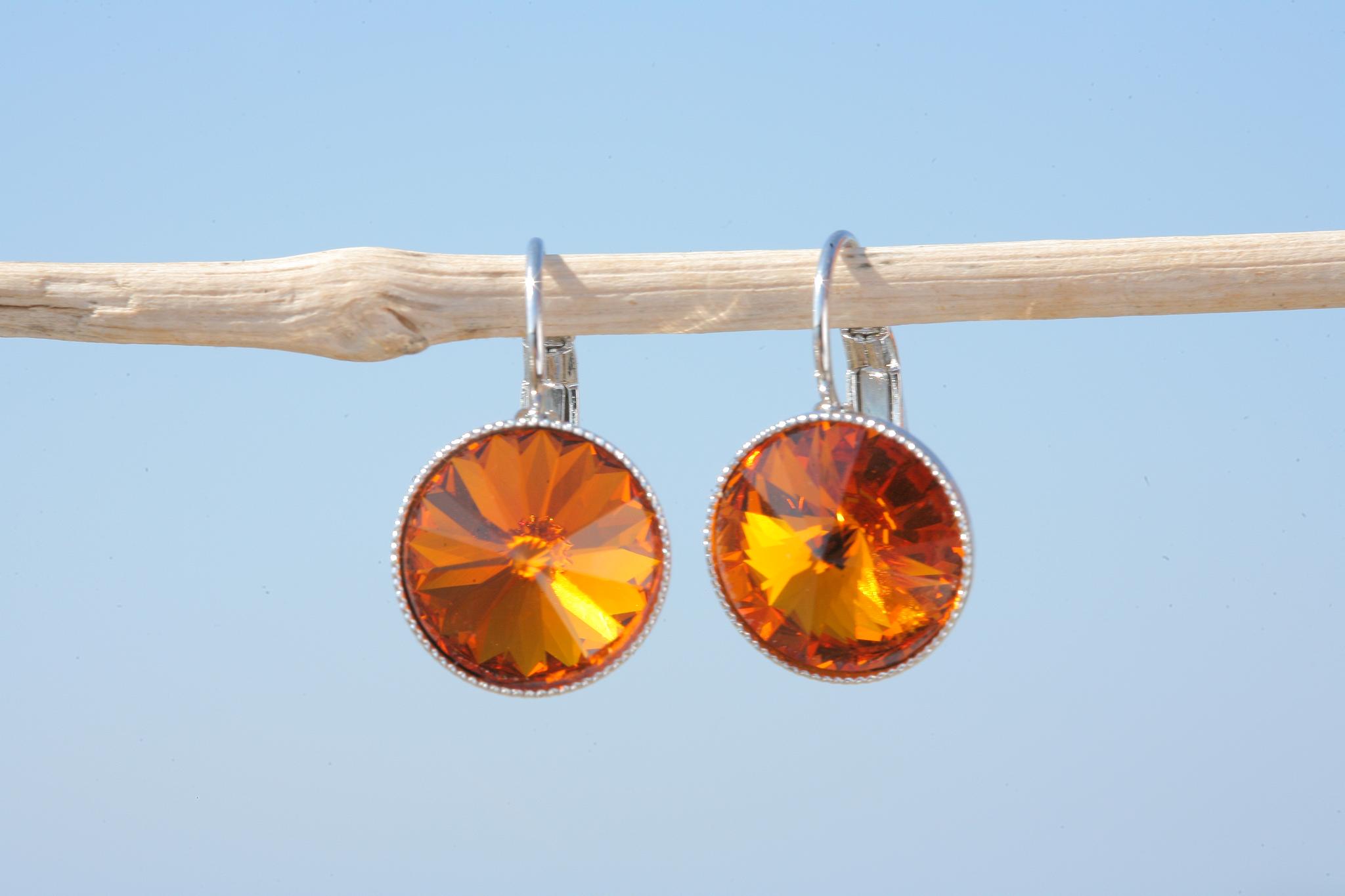 artjany Ohrhänger mit Kristallen in tangerine