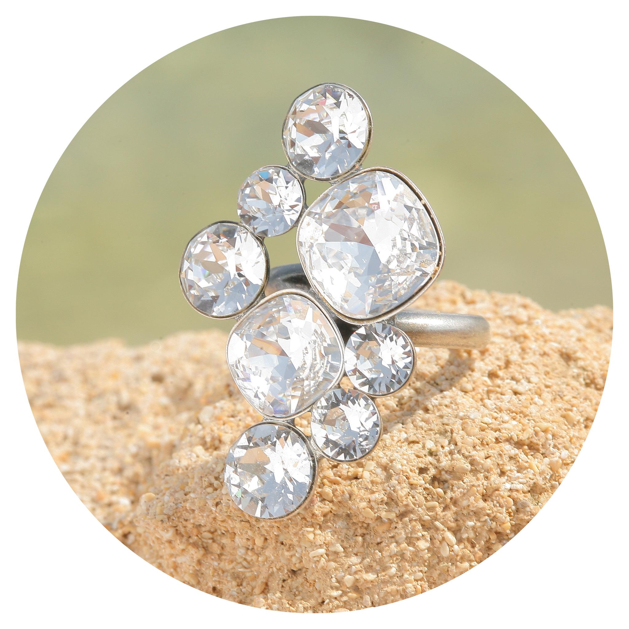 artjany Ring mit Kristallen in crystal