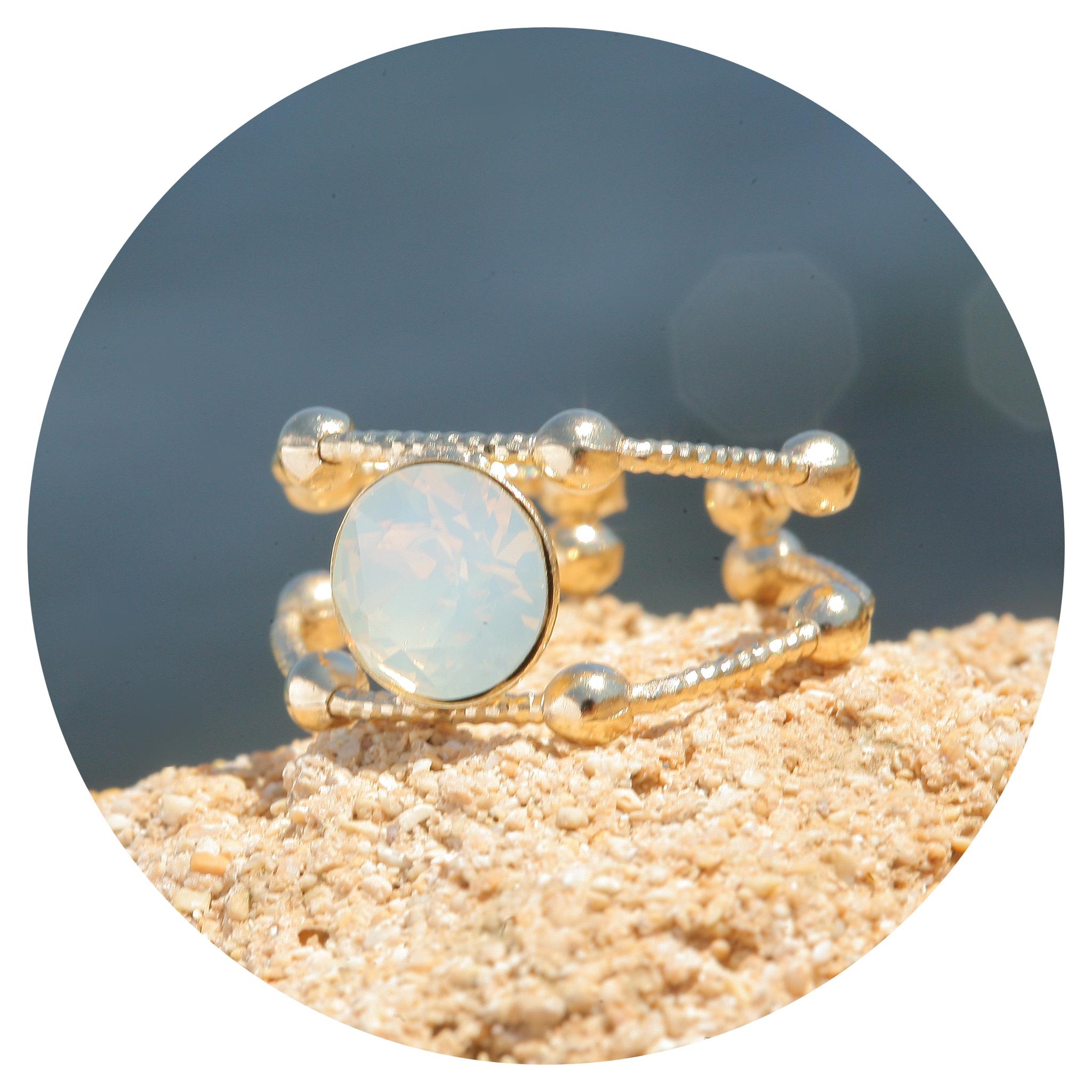 artjany goldener Ring in white opal
