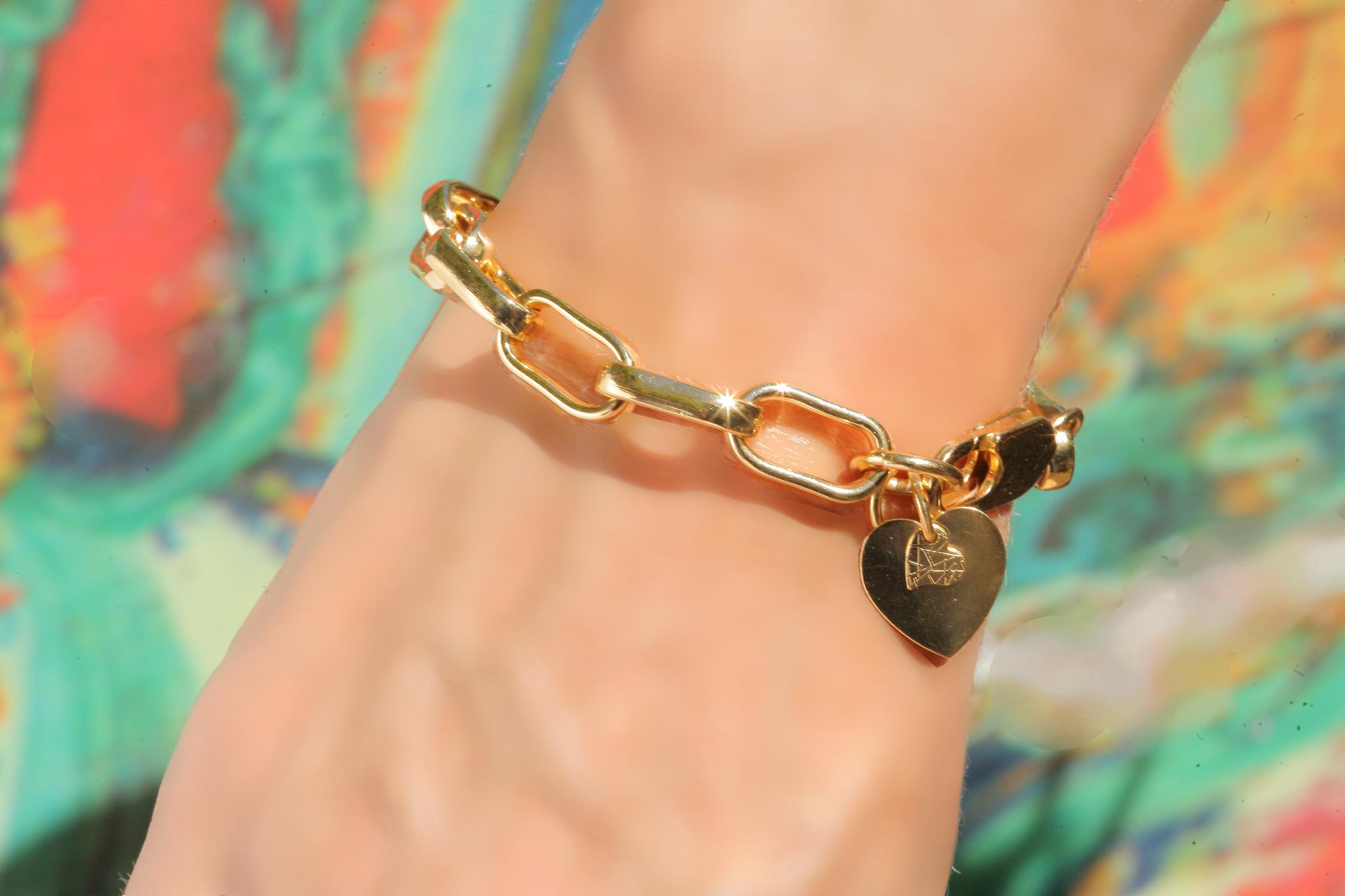 artjany vergoldetes  Armband mit einem Doppelherz