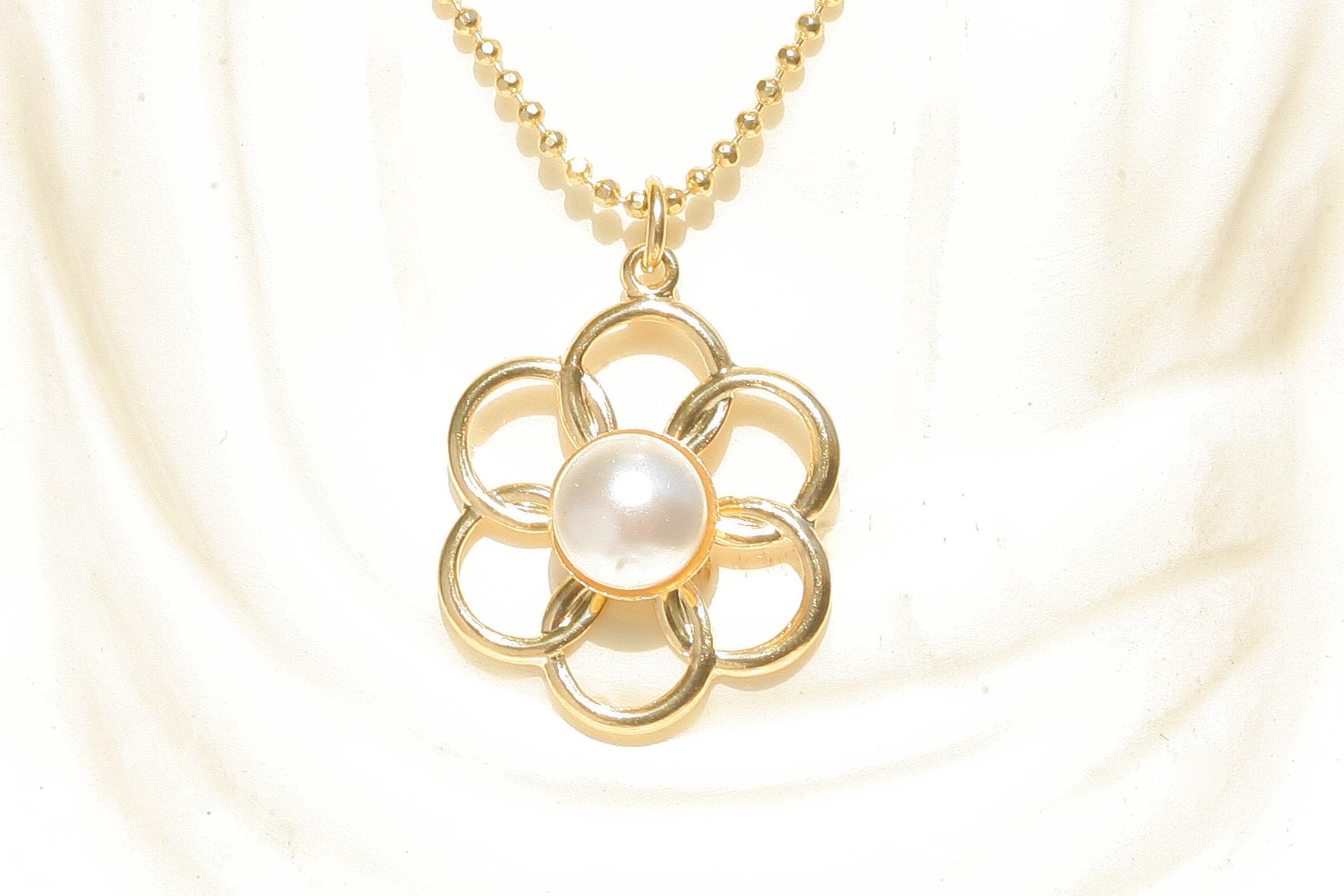 artjany vergoldete Halskette blume mit perle