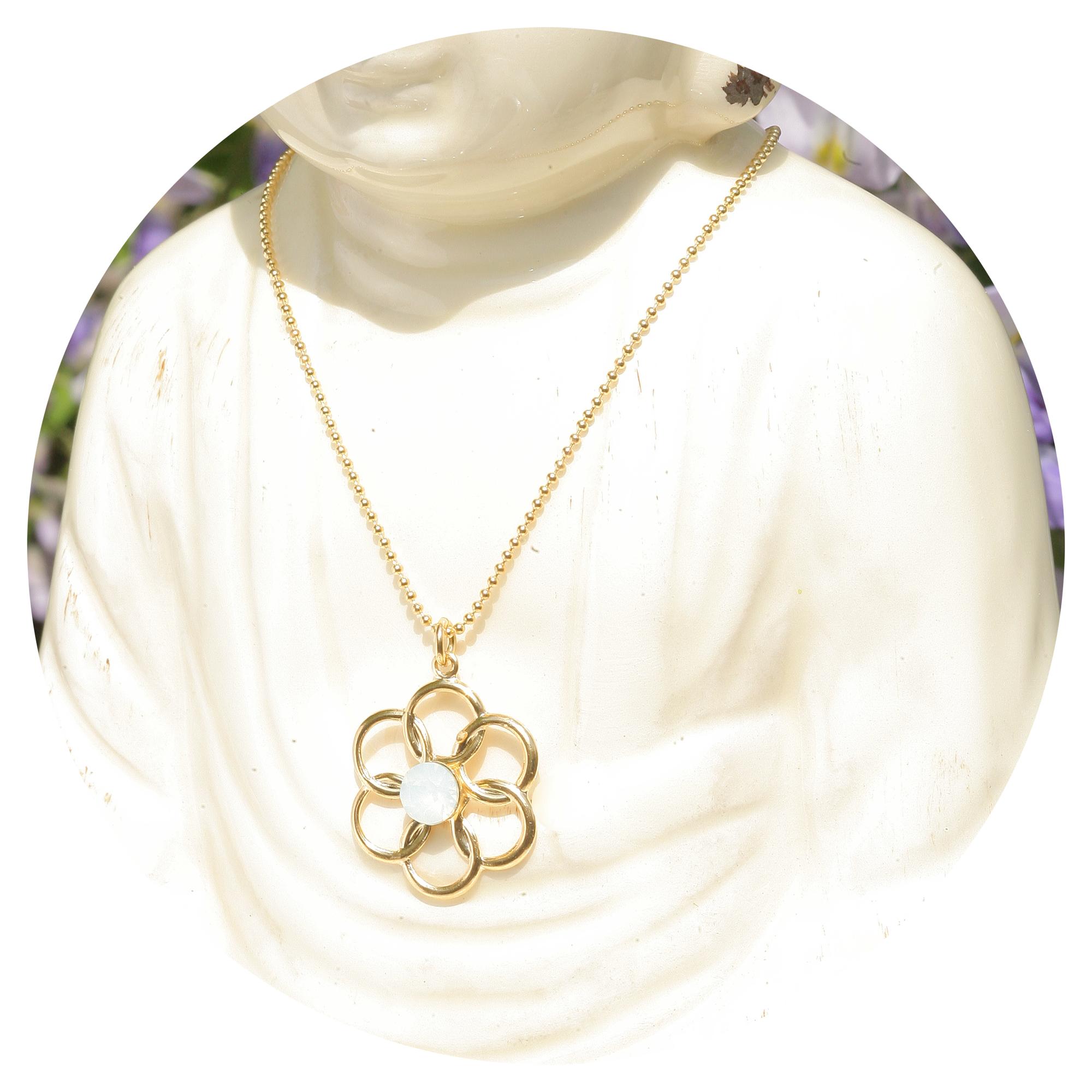 artjany vergoldete Halskette blume white opal