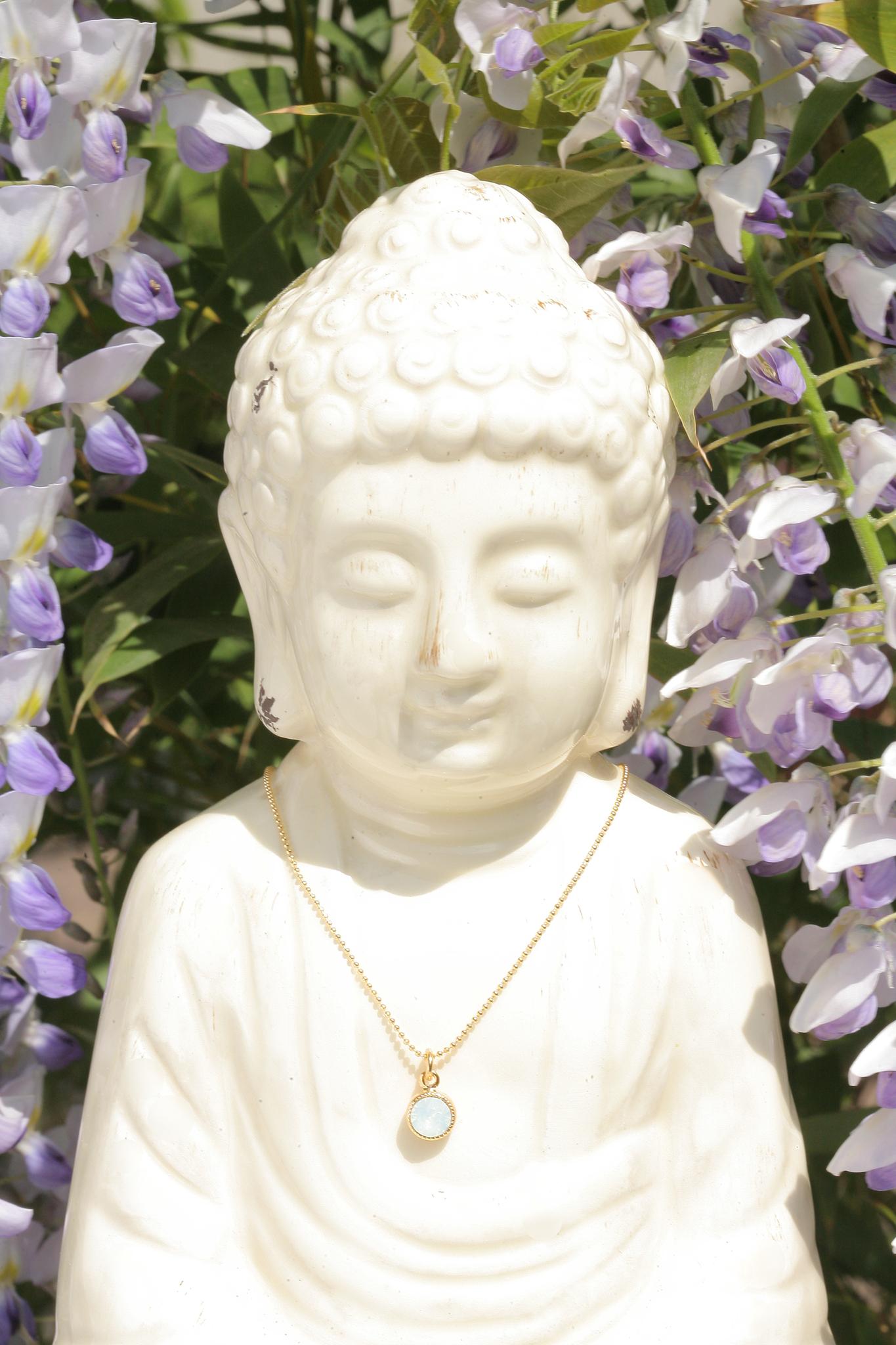 artjany vergoldete Halskette in white opal