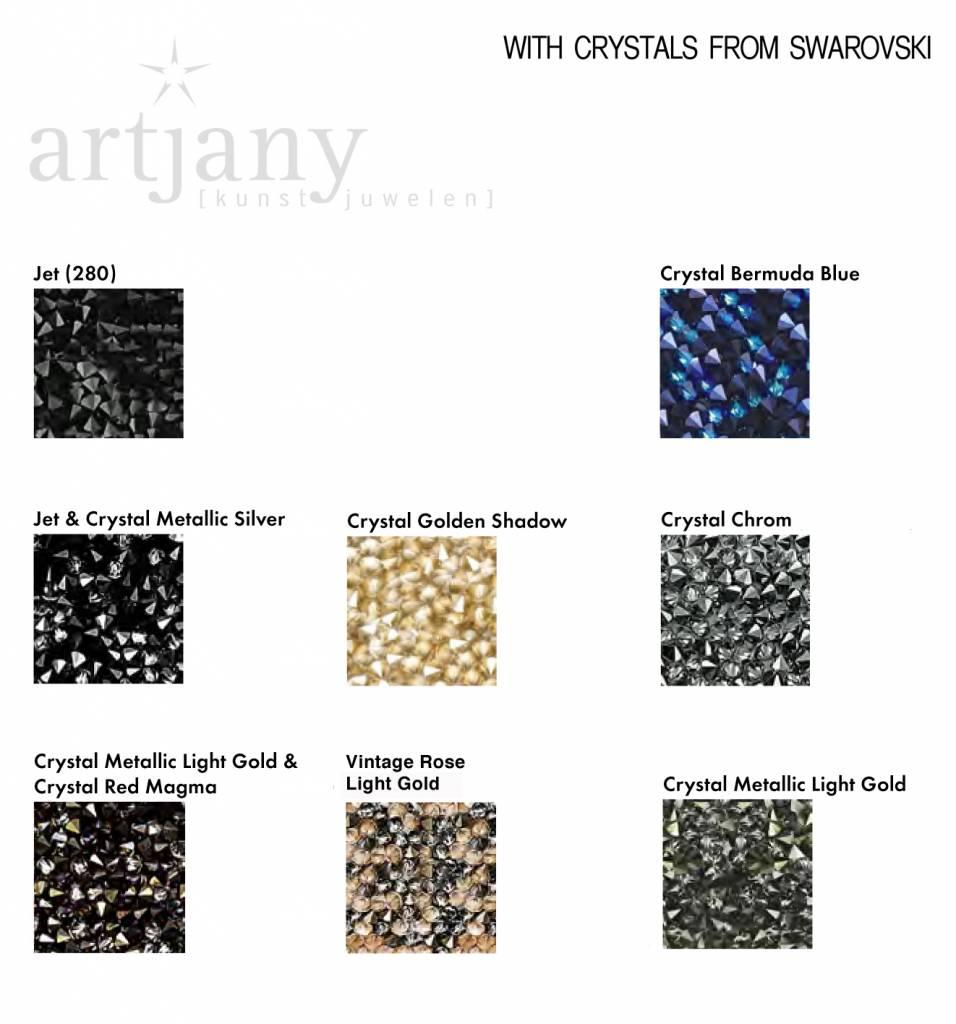 artjany Ring mit crystals rocks in metallic jet