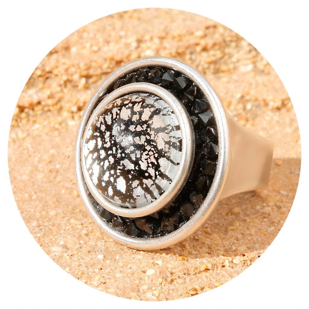 artjany Ring mit crystal & Cabochon in black patina