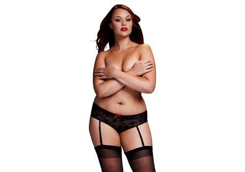 Baci - Zwarte Roos Open Kruis Boyshort Panty Queen Size