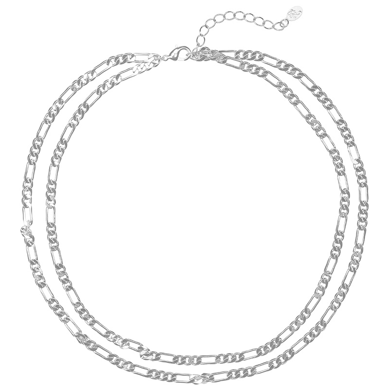 By Moise KETTING DOUBLE CHAIN ZILVER
