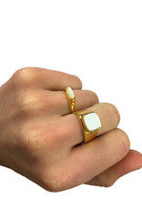 Mother Of Pearl Signet Ring Gold