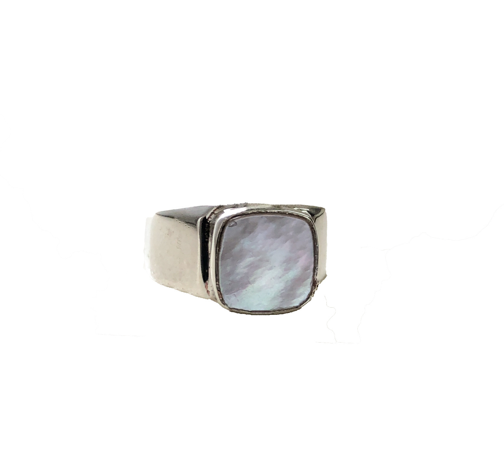 Mother Of Pearl Signet Ring Silver