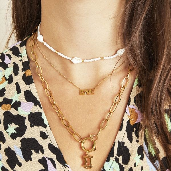 KETTING DOTTED LOVE ZILVER