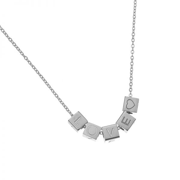 KETTING LOVE BLOCKS ZILVER