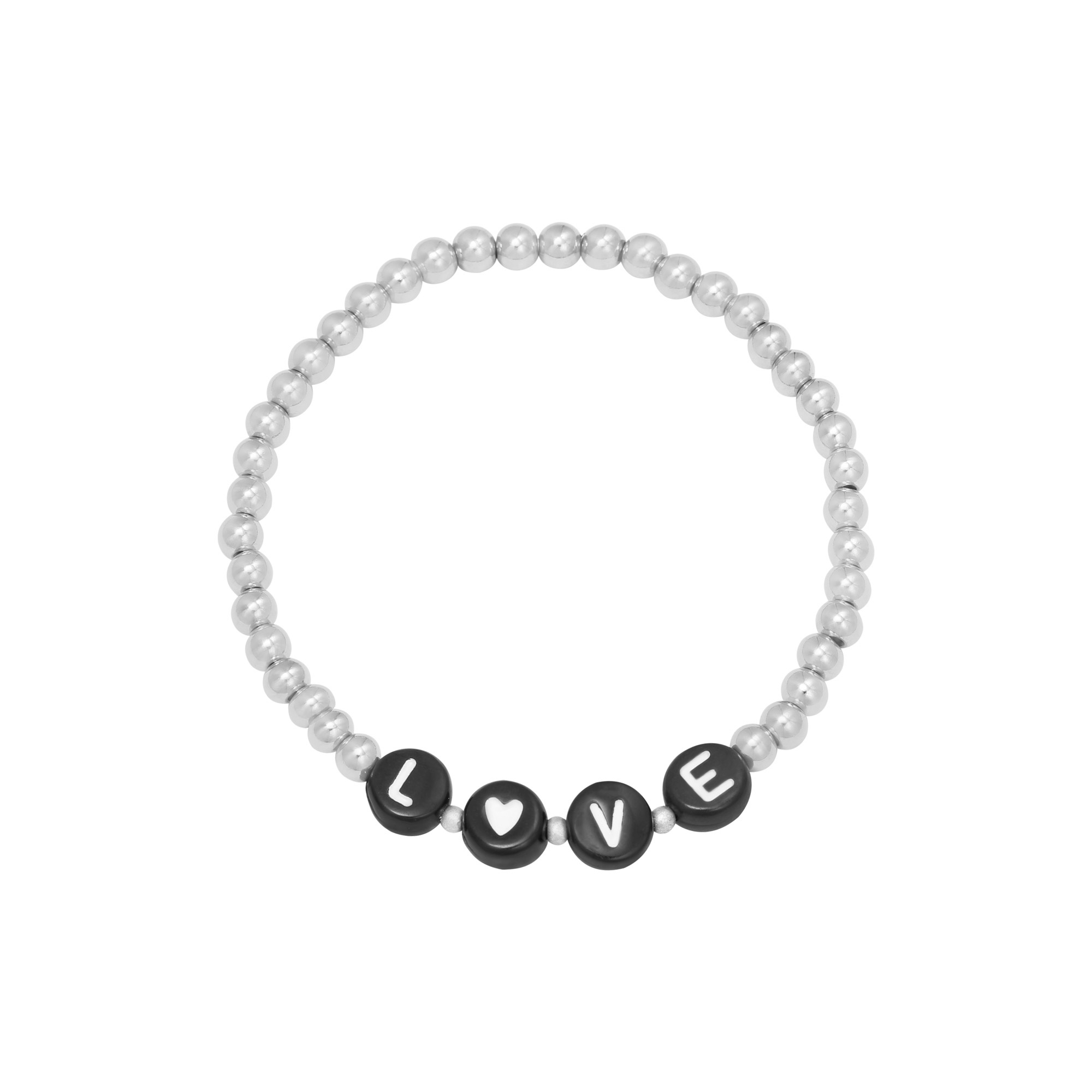 By Moise ARMBAND BEADED LOVE ZILVER