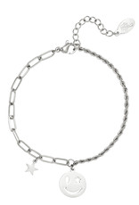 By Moise ARMBAND SMILEY STAR ZILVER
