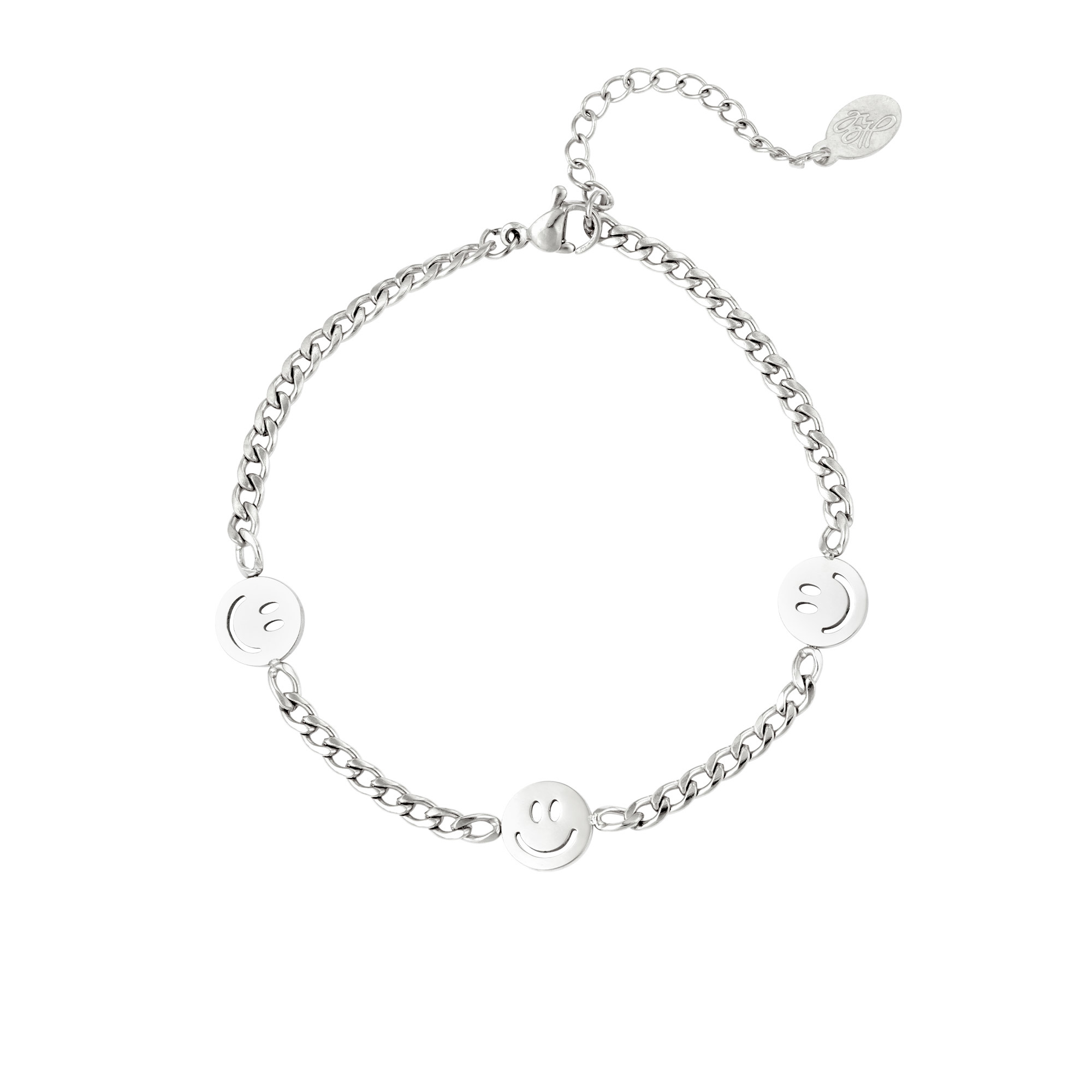By Moise ARMBAND 3 SMILEYS ZILVER