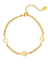By Moise ARMBAND 3 SMILEYS GOUD
