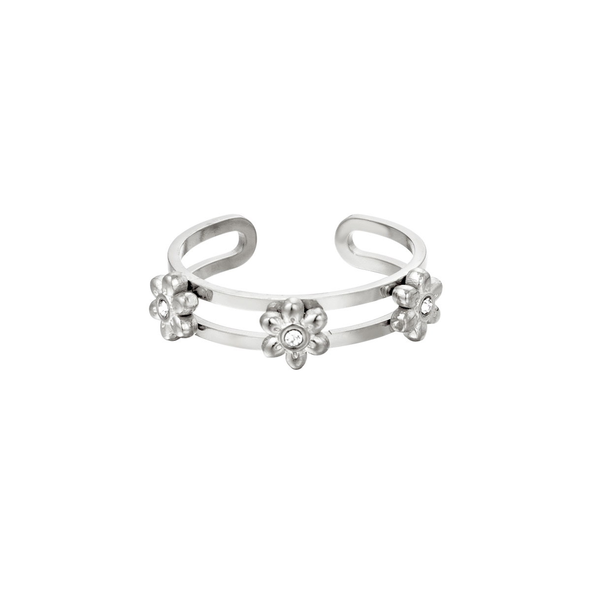 By Moise RING 3 FLOWERS ZILVER