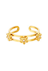 By Moise RING 3 FLOWERS GOUD