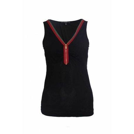 Gucci, Zwarte top met streep, maat M