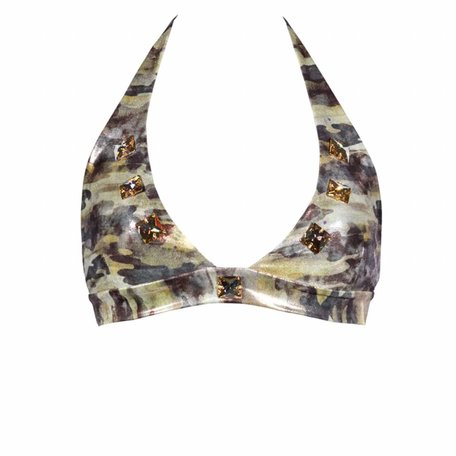 Bikini top in camouflage with crystals