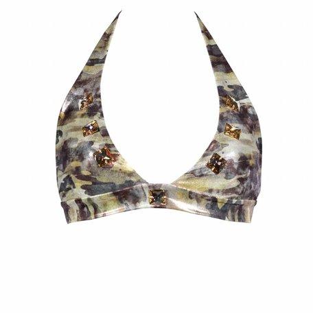 Bikinitop in camouflage met swarovski