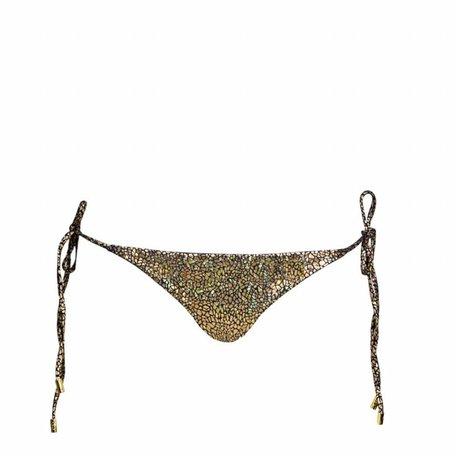 Bikinibroek met craquelé goud