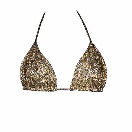 Bikini top cracked gold
